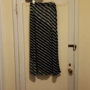 Avenue Black Maxi Skirt w/Multicolored Stripes